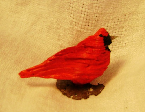 Cardinal--Driftwood other found objects, acrylic paint--2x4x2 inches