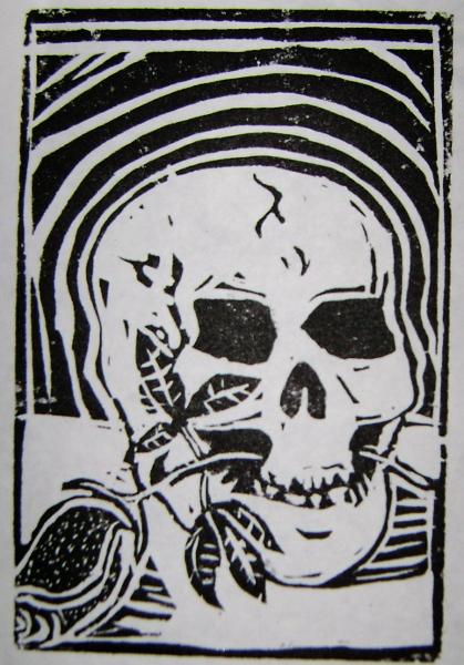 Skull&Rose 2nd state--Linocut--4x6