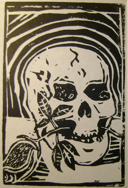 Skull & Rose, Linocut, 6x4 inches on 9x6 inch paper---Edition of 10