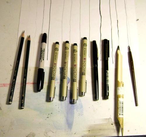 l -r HB pencil, 4B pencil, double tip sharpie, Micron pens 01, 03, 05, 08, a Kuretake brush pen, Pitt brush pen, bamboo pen, hunt 102 crowquill