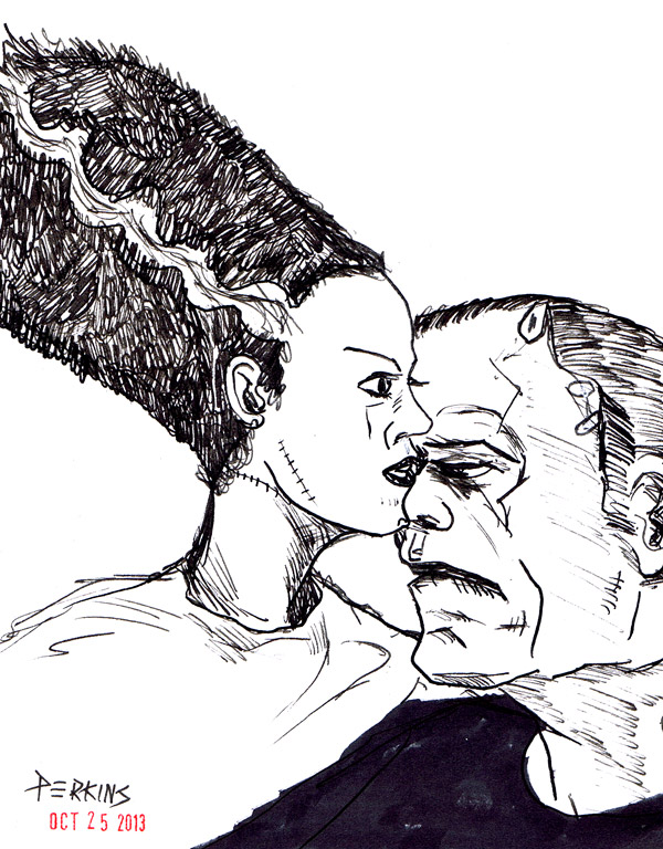 Frankenstein and the Bride --#inktober 25