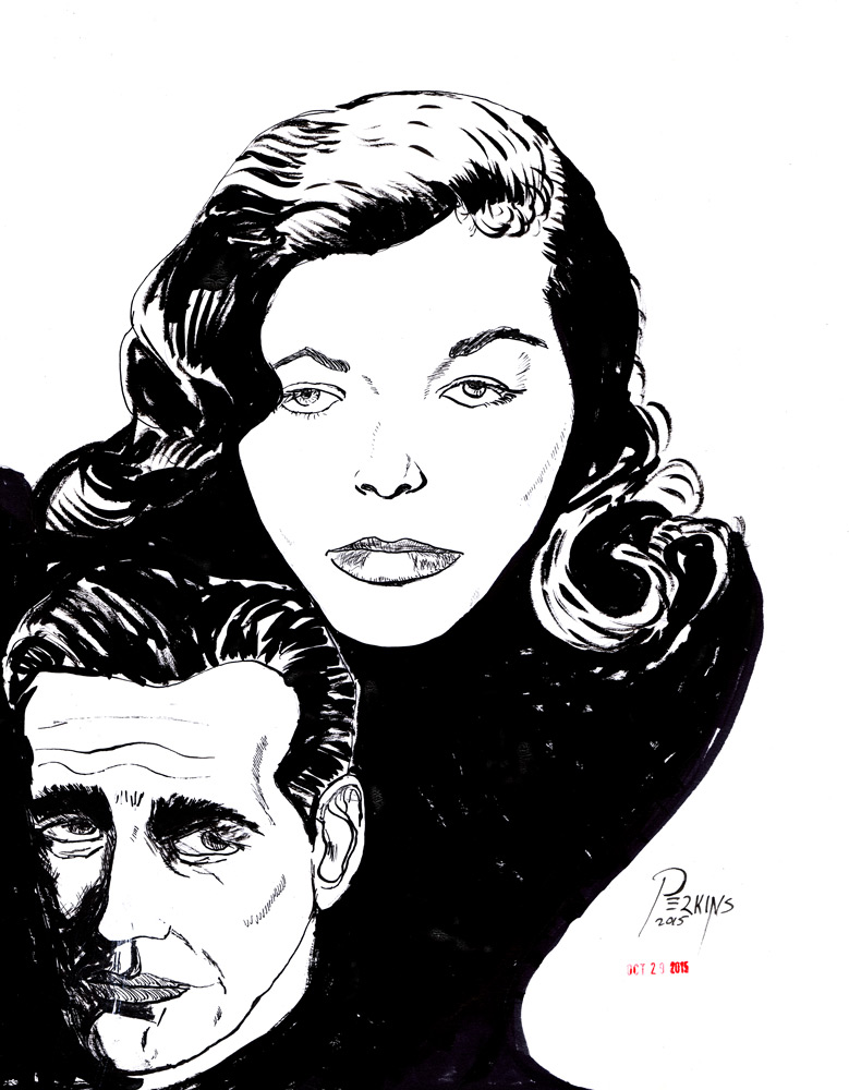 Inktober Day 29 Bogie and Bacall