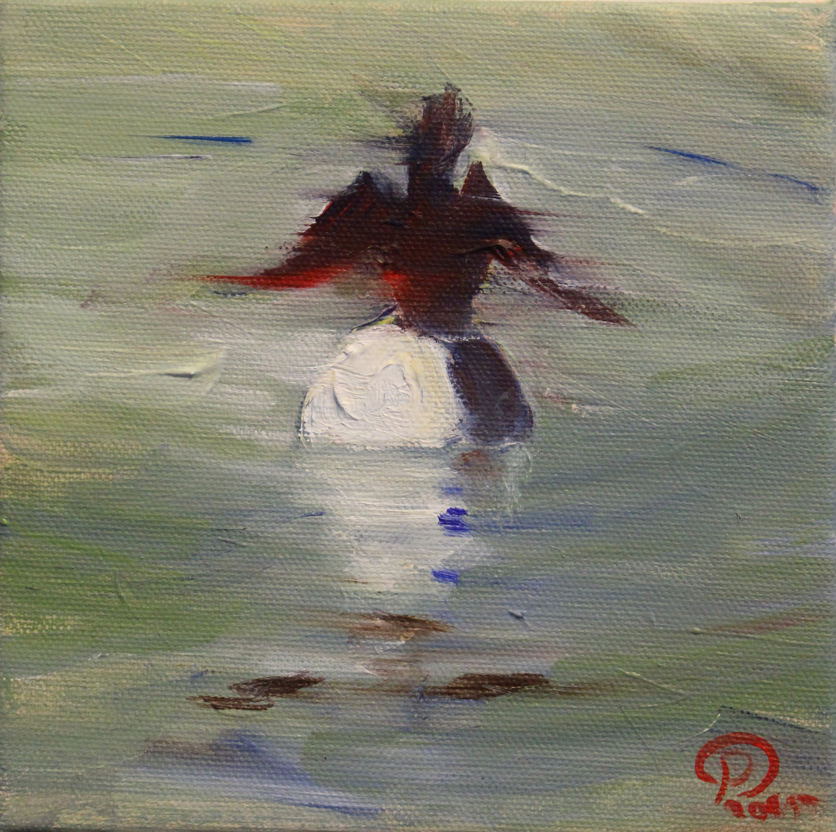 Cormorant on a Buoy 6x6 inches